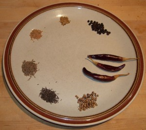 Plate of spices to be roasted for tandoori marinade