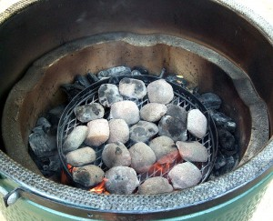 Plate of ceramic briquettes on charcoal