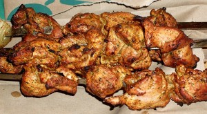Finished tandoori chicken, on skewers