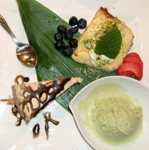 White Sesame Cheesecake, Pound Cake with Mascarpone cream, Green Tea Ice Cream